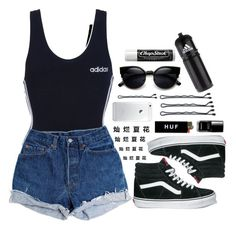 """Untitled #984"" by idcmyaa ❤ liked on Polyvore featuring adidas, Levi's, Vans, HUF, Guide London, ZeroUV and Chapstick"