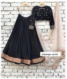 Lehenga choli chaniya choli readymade blouse lehenga choli for women lengha choli ghaghra choli handwork lehenga black lehenga Black Lehenga, Indian Lehenga, Pink Lehenga, Lehenga Style, Lehnga Dress, Lengha Choli, Simple Lehenga Choli, Choli Designs, Lehenga Designs