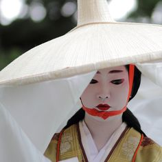 The geiko (geisha) Naokazu dressed as the 13th century writer Madame Fujiwara-Tameie (Abutsu Ni) in the Jidai Matsuri, one of the three big festivals of Kyoto.