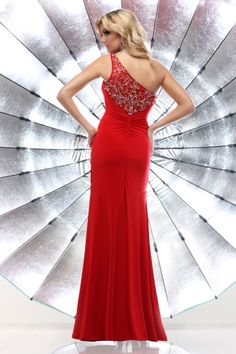 2014 Fascinating One Shoulder Prom Dresses Floor Length Red Chffion