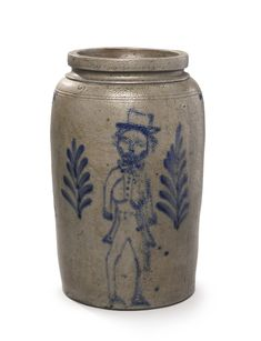 Rare American Two Gallon Salt-Glazed Stoneware Crock with Cobalt Blue Decoration of a Man in Morning Dress, 19th century