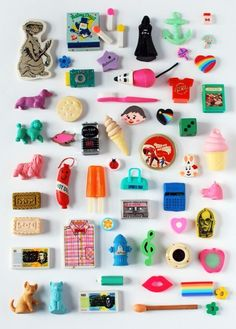 My highly-prized 1980s eraser collection. #80s #1980s #collection