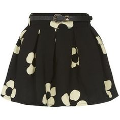 Black Daisy Print Belted Skater Skirt