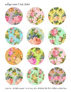 rose floral printable cupcake toppers sheet instant by huetoo