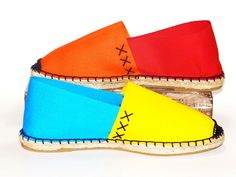 Flat canvas espadrilles shoes Orange, Red, Blue and Yellow    Organic cotton    Alpargatas Made in Spain