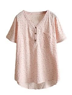 576b7e0287 Amazon.com: Minibee Women's Summer Floral Print V Neck Button Up Blouse Tops:  Clothing