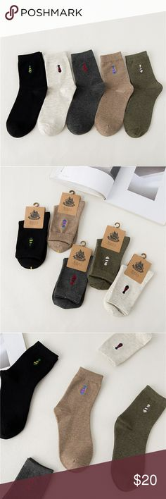 5 Pairs Men'S Fashion Socks Cotton Blended Fashion, colorful, comfortable socks. Condition:100% Brand New and High Quality Material: Cotton Gender: Men Sock Length: Short Socks Size: one size(fit most people) Sock Type: casual  Pattern Type: Tie embroidered Color Style: Natural Color  Product content: 5 Pairs of Socks Underwear & Socks Casual Socks