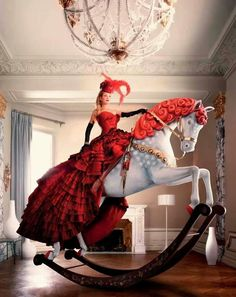 Rocking horse rider in red
