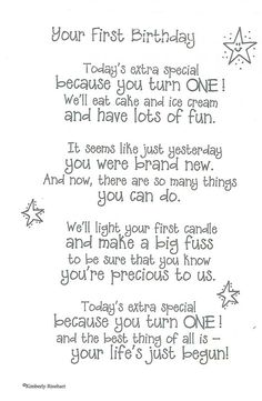 Dinglefoot's Scrapbooking - First Birthday - Poem For A Page Sticker, $1.40 (http://www.dinglefoot.com/first-birthday-poem-for-a-page-sticker/):