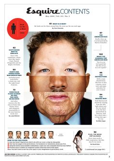 Esquire table of contents page.    Cool imagery, clean story layout with descriptions, and overall good use of space. Good one.