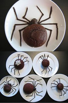 DIY  :: Halloween Spider Cakes ( http://www.notmartha.org/archives/2007/10/26/spider-cakes/ )