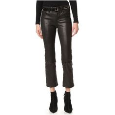 J Brand Selena Cropped Leather Pants (€970) ❤ liked on Polyvore featuring pants, capris, noir, leather pants, cropped pants, leather zipper pants, cropped capri pants and flared cropped pants