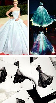 Claire Danes llevando un vestido que brilla en la oscuridad diseñado por Zac…