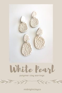 Textured white pearl polymer clay earrings. Pebble shaped earrings. Trendy, minimalist earrings perfect for everyday wear or for any outfit. Give as a birthday gift for cousin, best friend, or sister in law. Shop these unique handmade statement earrings for her in my etsy shop! White Earrings, Dangle Earrings, Etsy Best Sellers, How To Clean Earrings, Teenage Girl Gifts, Stainless Steel Earrings, Fall Jewelry, Minimalist Earrings, Handmade Polymer Clay