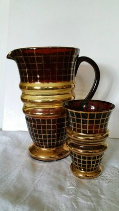 Hey, I found this really awesome Etsy listing at https://www.etsy.com/listing/235500588/vintage-blown-glass-jug-and-drinking