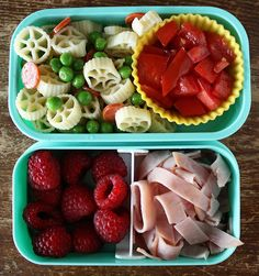 A pasta salad is a great way to go, because it's great cold. Add raspberries, tomato, and sliced ham for the sides.