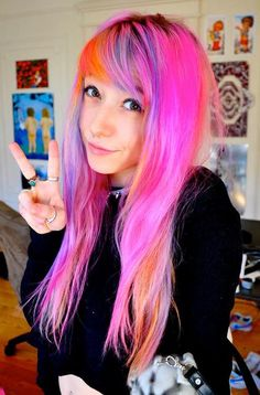 pink, orange, and lavender hair Color Your Hair, Dye My Hair, Hair Color For Black Hair, Hair Colour, Neon Hair, Pink Hair, Corset, Unnatural Hair Color