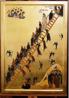 Ladder of Divine ascent the ladder icon icons orthodox hand Byzantine Icons, Byzantine Art, Religious Icons, Religious Art, Jacob Jacob, Greek Icons, Church Icon, Paint Icon, Russian Icons