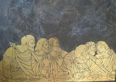 Last supper stencil from Ron Hans Last Supper Art, Stained Glass Patterns, Stenciling, Painting, Stencils, Stencil Art, Painting Art, Paintings, Painted Canvas