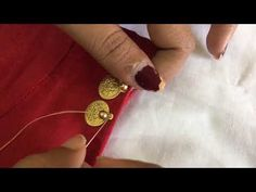 Simple work on old blouse Diy Bead Embroidery, Hand Embroidery Dress, Hand Embroidery Videos, Hand Embroidery Designs, Embroidery Works, Zardozi Embroidery, Embroidered Blouse, Golden Blouse Designs, Simple Blouse Designs