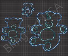 Bears Rhinestone Design Pattern Template Stencil Download