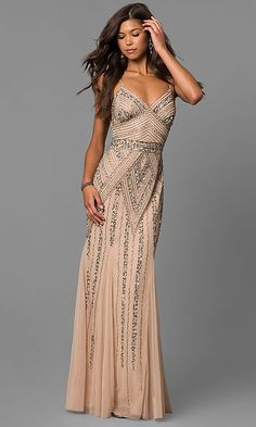 eb51b47edaa Long Sequin-Embellished Prom Dress with Empire Waist