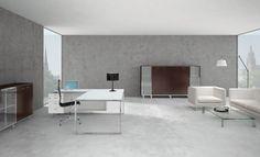 """""""X7"""": Gli elementi costitutivi il progetto X7 sono volumi puri, minimalismo progettuale, riflessioni del metallo e metricità del legno. Ogni componente offre il massimo del rigore, della funzionalità, del comfort e del piacere estetico; tutto concorre a creare un luogo che parla di comunicazione ed efficienza."""