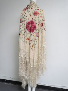 Vtg 1920s Art Deco Silk Hand Embroidered Cabbage Roses Shawl Long Fringe As Is #Unbranded #Formal