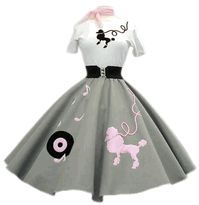 Light Gray Skirt With Pink Dog, Record & Notes 50s Dresses, Vintage Dresses, Vintage Outfits, 50s Outfits, Skirt Outfits, Grease Outfits, Poodle Skirt Outfit, Poodle Skirts, Poodle Skirt Pattern