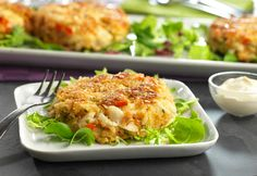Crab Cakes with Lemon-Garlic Aioli:These moist and flavorful crab cakes are sure to become an all-time favorite...and the aioli dipping sauce is delish!