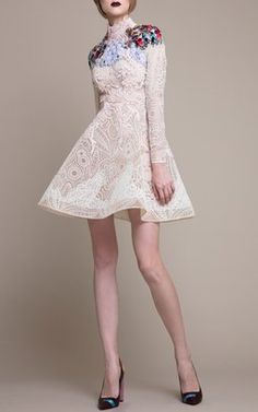 Embroidered High Neck Mini Dress by Hussein Bazaza
