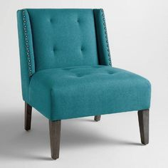 Pacific Blue Carlin Wingback Chair - love but maybe impractical? Turquoise Accent Chair, Teal Chair, Blue Chairs, Arm Chairs, Ikea Chairs, Comfortable Living Room Chairs, Comfortable Office Chair, Affordable Furniture, New Furniture