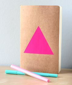 Neon Pink Triangle Notebook - Handpainted Geometric Moleskine - pinned by cj Handmade Notebook, Diy Notebook, Notebook Design, Pink Triangle, Papers Co, Bookbinding, Moleskine, Paper Goods, Book Art