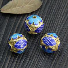 14mm Sterling silver Flower beadsgold platedBlue от MyMagicSilver