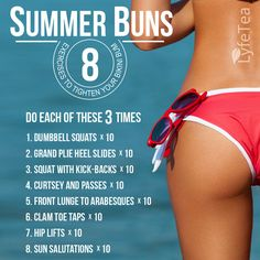 Summer Buns: Work hard now and enjoy your progress this summer– Lyfe Tea Wellness Fitness, Fitness Diet, Health And Wellness, Fitness Motivation, Health Fitness, Fitness Weightloss, Fitness Friday, Fitness Fun, Fitness Goals