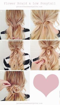 1.耳元の髪の毛をかるく取って中央に持っていき、下のうなじらへんの髪を結ぶように中央に持ってきます。 2.ヘアゴムでとめます。 3.結んだ髪を三つ編みをします。 4.中から外にクルクル丸めます。 5.綺麗なお花の形になるようにしてピンでとめてできあがり。
