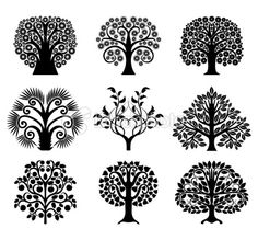 Set of decoration trees Royalty Free Stock Vector Art Illustration