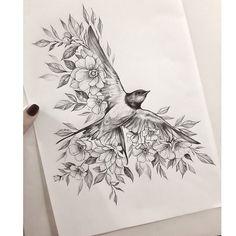 Tattoo Femeninos, Sternum Tattoo, Body Art Tattoos, Tatoos, Dark Art Drawings, Bird Drawings, Floral Tattoo Design, Tattoo Designs, Sketch Drawing