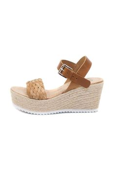 "Natural brown leather wedge sandal, with woven toe trap with solid leather ankle strap. Raffia wedge with white ripple sole. Wear with floaty skirts, dresses and skinny cropped jeans and wide leg linen pants. Fits true to size.    Heel height: 3.15""/1.77""   Leather Wedge Brown Sandal by Cambio Vita. Shoes - Wedges Australia"