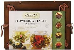 Gourmet Food: Numi Organic Tea Flowering Gift Set in Handcrafted Mahogany Bamboo Chest: Glass Teapot & 6 Flowering Tea Blossoms