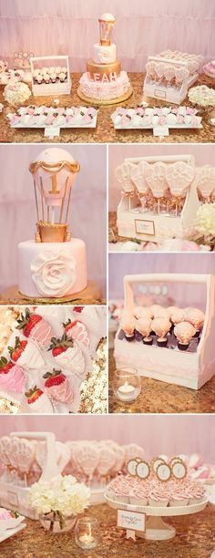 cupcakes and cookies idea A Glittering Pink and Gold Hot Air Balloon Themed Birthday Party