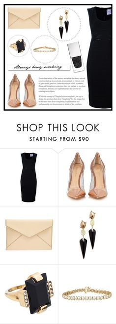 """""""Business Dinner"""" by medina-unique ❤ liked on Polyvore featuring Hervé Léger, White Label, Gianvito Rossi, Rebecca Minkoff, Alexis Bittar, Marni and Givenchy"""
