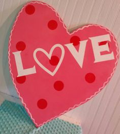 Valentine's LOVE Heart Wooden Door Hanger by MBPandMore on Etsy