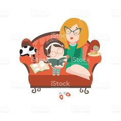 Young mother reading book to her daughter royalty-free stock vector art