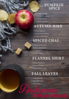 Pumpkin spice lattes, hikes in the woods with the crisp air, spiced chai tea, flannel shirts, and fall leaves. what are your favorite autumn scents? Ive compiled five of my favorite autumn diffuser blends to welcome fall! Fall Essential Oils, Essential Oil Diffuser Blends, Essential Oil Uses, Young Living Essential Oils, Doterra Diffuser, Aromatherapy Diffuser, Aroma Diffuser, Diffuser Recipes, Chai