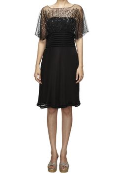 Featuring a black, sheer, embellished cocktail dress in silk georgette, with dolman sleeves, by Geisha Designs.  Product measurement : S size : 34 chest #studiorudraksh.com #geisha designs