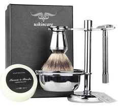 6 Piece Shaving Gift Set Includes Badger Hair Shaving BrushDouble Edge Safety RazorChrome StandBowlShaving Replacement Blades -- You can get additional details at the image link. Unique Gifts For Boyfriend, Best Gifts For Men, Boyfriend Gifts, Shaving Razor, Shaving Brush, Best Shaver For Men, Shaving Gift Set, Guys Grooming, Barber Man