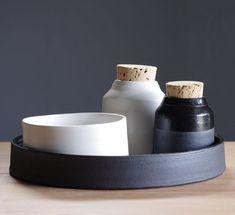 vitrified studio | black and white kitchen tray set