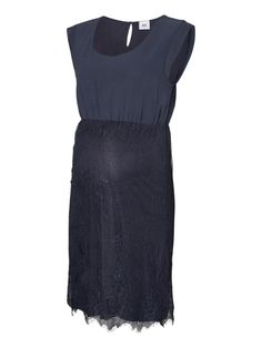 Lace and satin special occasion maternity dress idea for wedding guests summer parties or a day at the races Dark blue with a tie belt to give this