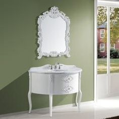 @Overstock.com - This Antoinette bathroom vanity set features maximum storage with one large drawer. The vanity is constructed from solid oak wood and comes complete with the mirror.http://www.overstock.com/Home-Garden/Antoinette-48-inch-Single-sink-Bathroom-Vanity-Set/6460896/product.html?CID=214117 $1,407.99